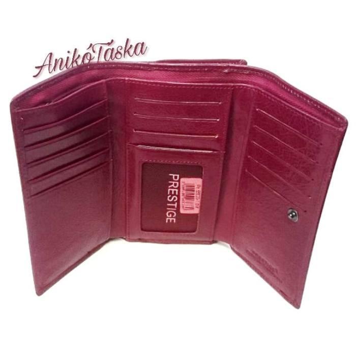 Piros sok kártyatartós keretes bőr női pénztárca
