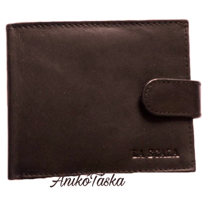 Közkedvelt fazonú bőr férfi pénztárca patentos sötétbarna