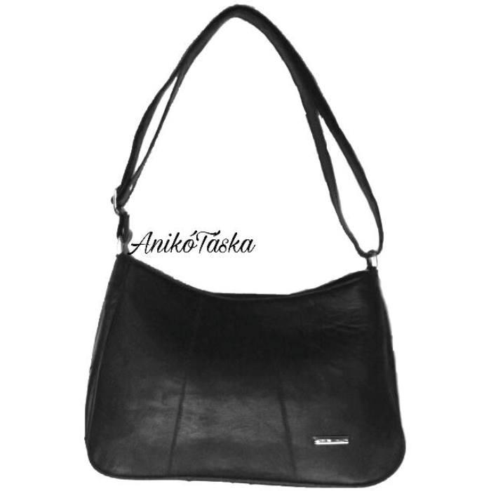 Bőr női táska állítható vállpánttal fekete