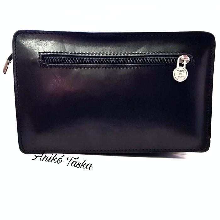 Elegáns bőr autós táska cipzáras fekete