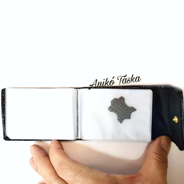 Patentos bőr kártya tartó lakk fekete Prestige