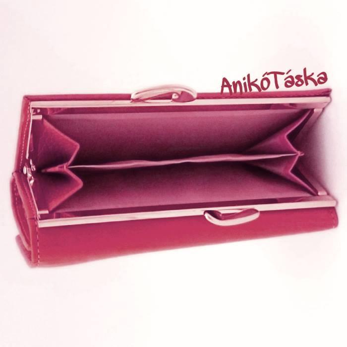 Málna rózsaszínű kártyatartós keretes bőr női pénztárca 3b02587c03